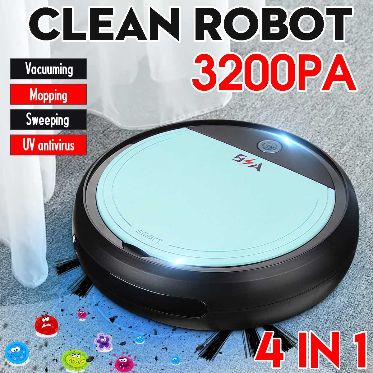 Rechargeable Smart Robot  4 in 1 Vacuum Cleaner Auto Smart Sweeping Robot UV Sterilizer Strong Suction Sweeper Vacuum Cleaners|Vacuum Cleaners| |  - title=