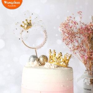 Жемчужная Корона, железная гирлянда, топпер для торта «С Днем Рождения», принцесса, свадебное украшение для торта, вечерние товары для матер...