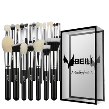 BEILI Black Luxe Professional 22pcs  Synthetic hair Powder Foundation Goat hair Eye shadow Blending Makeup Brush set