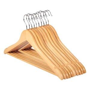 Image 1 - 10pcs עץ מלא קולב החלקה קולבי בגדי קולבי חולצות סוודרים שמלת קולב ייבוש מתלה לבית