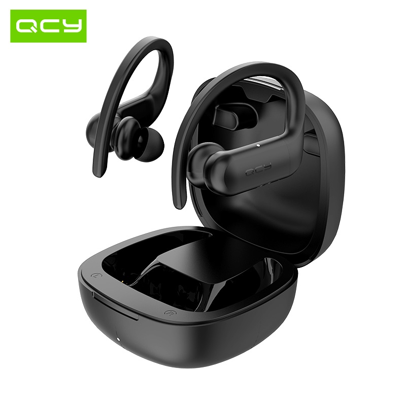 QCY T6 Wireless Bluetooth headphones binaural hook-in-ear sports earphonesStereo HIFI sound and APP Customization