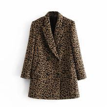 Женское шерстяное пальто с леопардовым принтом длинное теплое