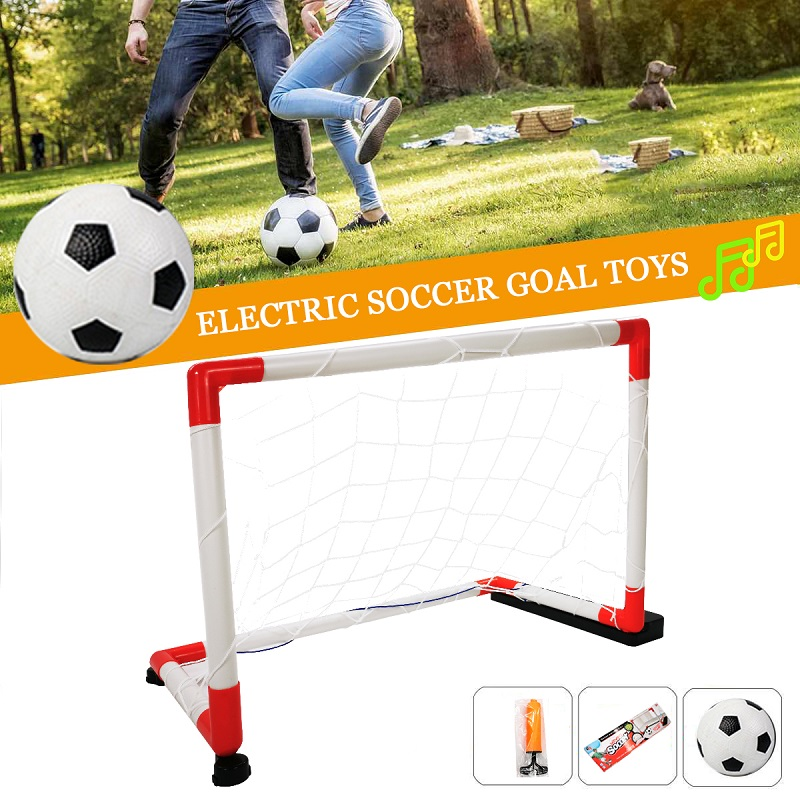 WISHOME Mini Soccer Goal For Indoor Football Goal Kids Soccer Goal Net For Backyard Square Football Gate Electric Toy With Music