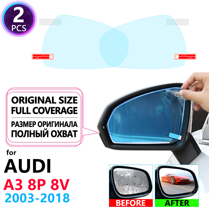 Full Cover Anti Fog Film Rearview Mirror for Audi A3 8P 8V 2003~2018 Accessories S-Line S3 Anti-fog Rainproof Films Clear Foil image