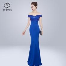 Skyyue Evening Dress Off The Shoulder Women Party Dresses Sleeveless Elegant Robe De Soiree 2019 High Collar Gowns C225