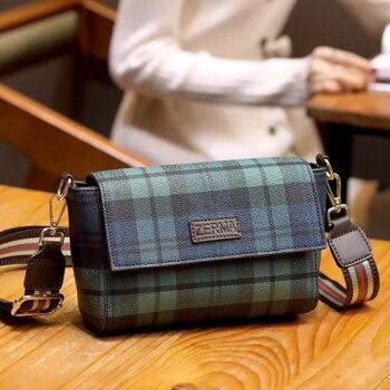 Vintage Plaid Pattern Small Crossbody Bags for Women 2020 Single Shoulder Messenger Bag Lady Luxury Handbags Colorful Strap