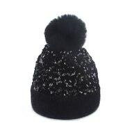 Mädchen Frauen Winter Bommel Pelz Hut Bling Pailletten Skullies Mützen Weiche Warme Gestrickte Hüte Mode Hip Hop Ski Caps