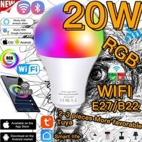 Lampadina Wifi intelligente 20W E27 B22 LED RGB dimmer luce Timer funzione lampada Alexa Google o IR telecomando Magic NightLight 6500K