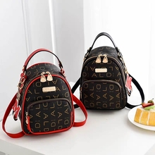 купить New Mini Backpack Women Leather Shoulder Bag For Teenage Girls Kids Multi-Function Small Bagpack Female School printing Backpack дешево