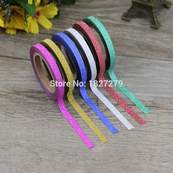 (6pcs/Set) Glitter Washi Tape Set Japanese Stationery Scrapbooking Decorative Tapes Adhesive Kawai Adesiva Decorativa