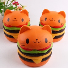1PC Home Party Decoration Product Funny   Decompression Toys Squishy Bread Toy Artificial PU Hamburger Cat Toy Bakery Ornamenent