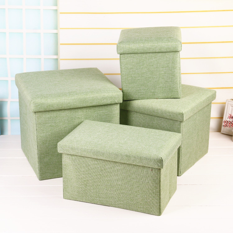 Multi-functional Folding Storage Stool Box People Finishing Box Cotton Linen Storage Box Enhanced Version Of Wholesale