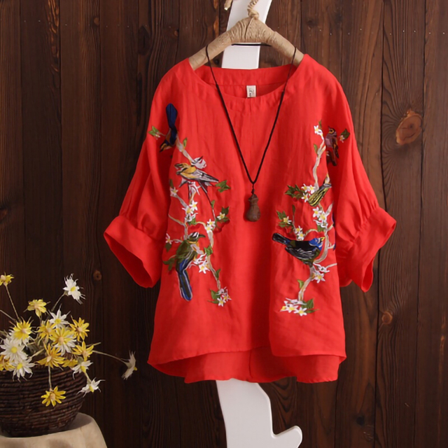 Blouse Plus size Women Tops Loose Embroidered Blouse Shirt Vintage Batwing sleeve Cotton Casual 3