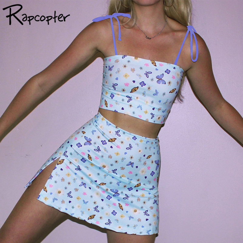 Rapcopter Sexy Butterfly Print Women Cute Cropped Top Hot Summer 2020 New Fashion Bow Bralette Ladies Cami Top Harajuku Camisole