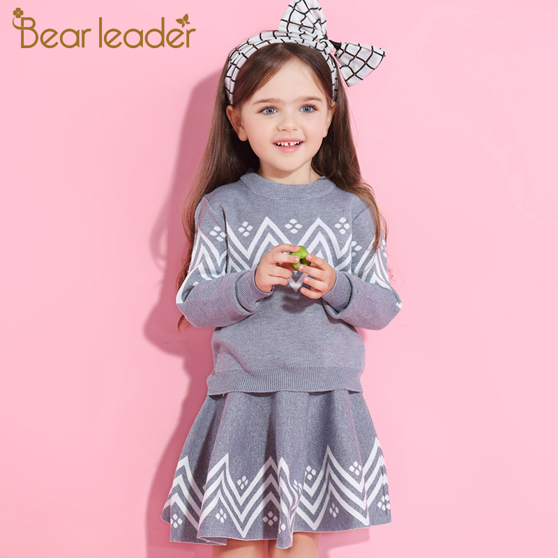 He3fb8d57693041328c5a3ff46fd055196 Bear Leader Girls Dress 2019 Winter Geometric Pattern Dress Long Sleeve Girls Clothes Top Coat+ Tutu Dress Sweater Knitwear 2pcs