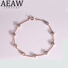Solid 14K Rose Gold 4mm 0.3ct 2.7ctw Carats DF Color Moissanite Lab Grown Diamond Bezel Bracelet For Women Test Positive(China)