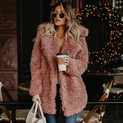 Женское зимнее пальто размера плюс с искусственным мехом, куртка-бомбер, Тренч, шерстяное плюшевое пальто, розовое пальто с длинным рукавом,...