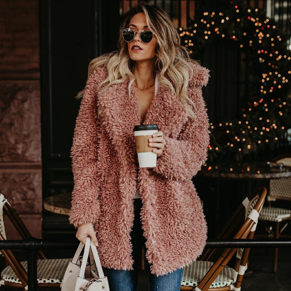 Women Winter Plus Size Faux Fur Coat Bomber Jacket Trench Wool Teddy Coat Pink Overcoat Long Sleeve Vintage Outwear Mujer