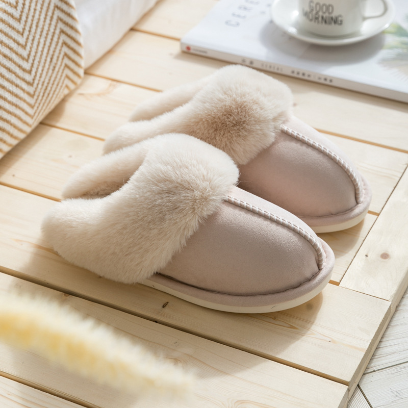 Suihyung new women fur home slippers quality suede flat cotton shoes man plush slippers couple bedroom slides furry indoor shoes