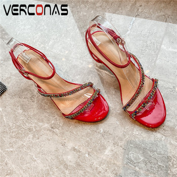 VERCONAS  Weeding Shoes Woman Pumps Woman Sandals Summer Genuine Leather Crystal Decoration Round Toe Strange Heels Shoes Woman