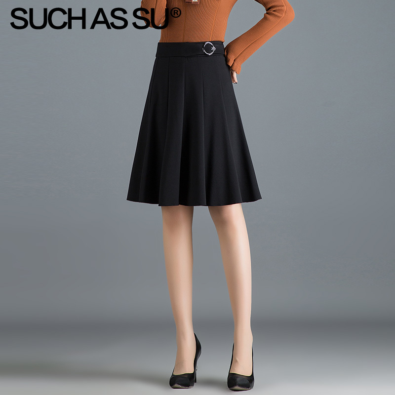 New Knit Pleated Skirts Women 2019 Fall Winter Black High Waist A Line Skirt S-3XL Plus Size Leisure Knee-Length Skirt Female