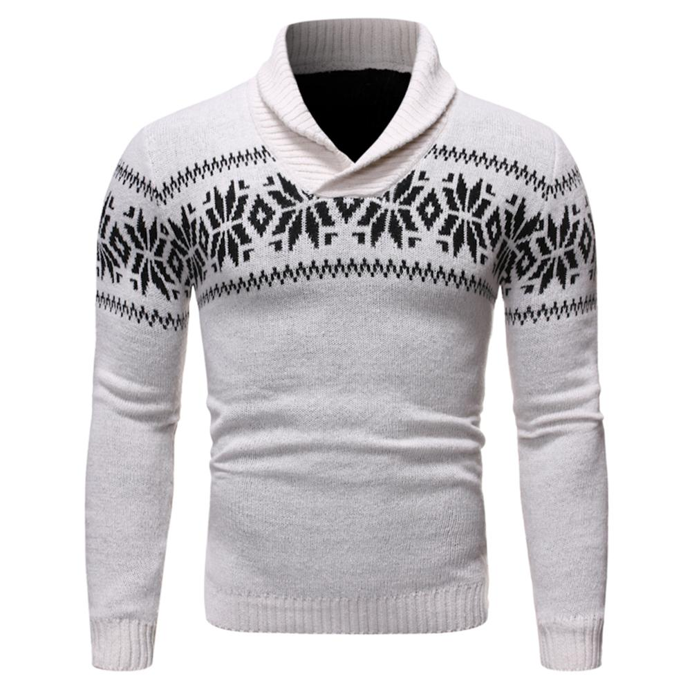 MISSKY Men's Sweater Essential  Stand V-Collar Christmas Snowflake Sweater Ribbed Hem Cuffs Knitwear Male Tops Winter Autumn