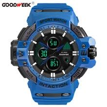 GOODWEEK Analog Digital Man Sport Watch Waterproof Shock Resitant Military Quartz Male Dual Display Watches Reloj Hombre