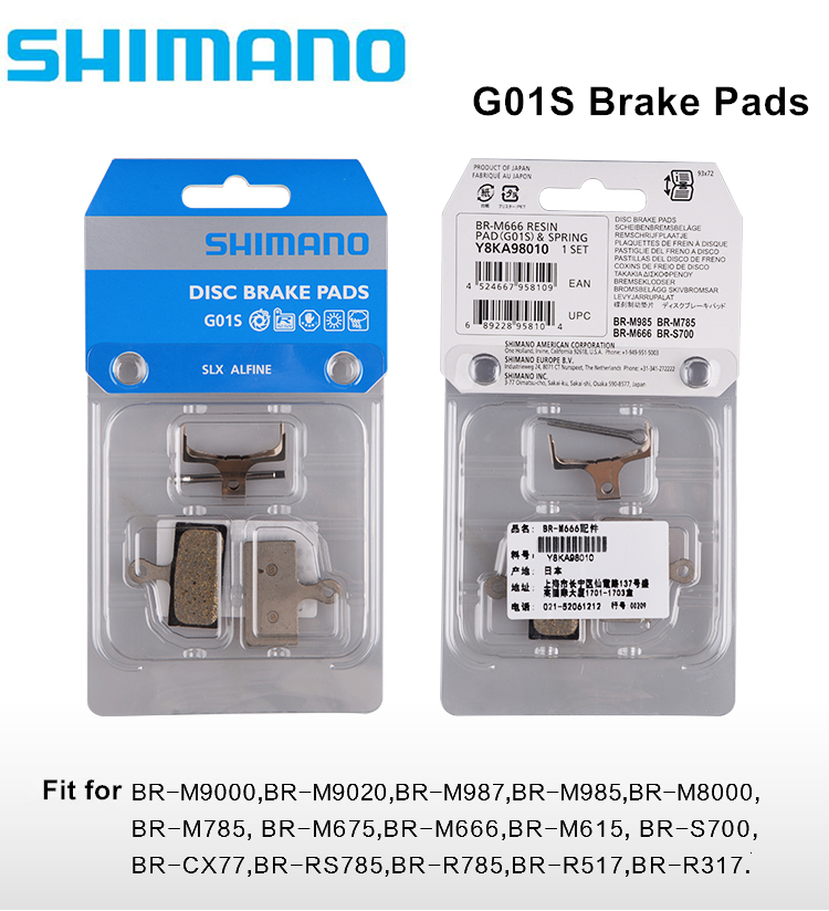 Shimano <font><b>G01S</b></font> Resin Bike Pads Disc Brake Bike Pads BR-M9000 M9020 M987 M985 M8000 M785 M666 S700 CX77 RS785 R517 R317 image