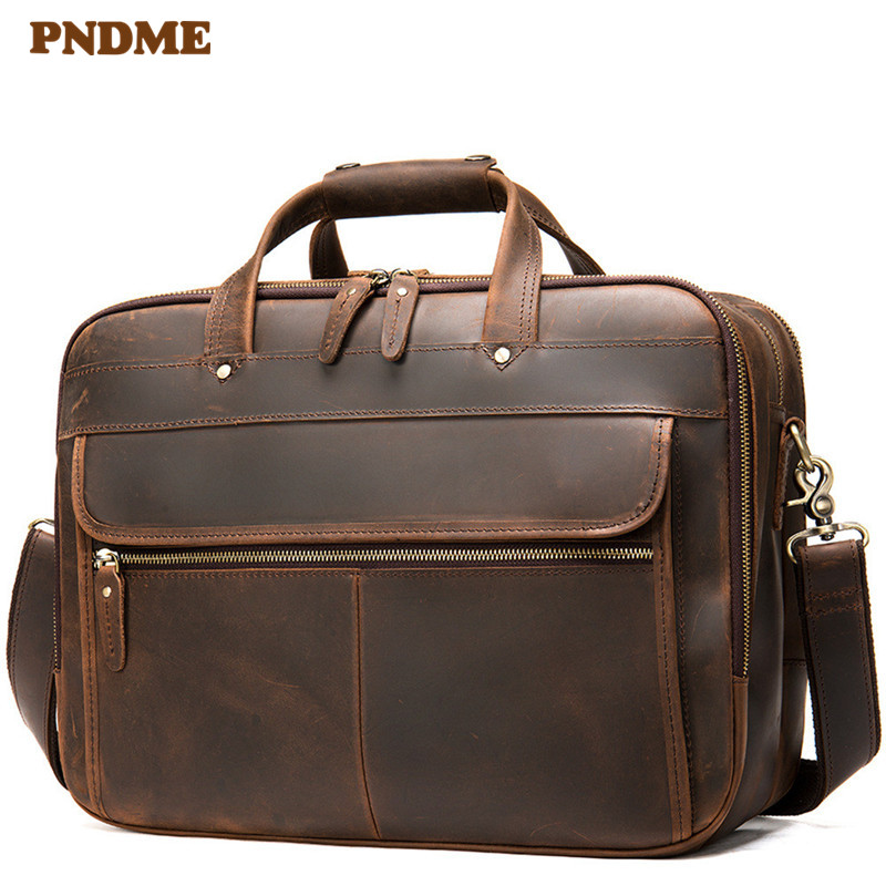 PNDME vintage crazy horse cowhide men's briefcase natural genuine leather laptop shoulder bag lawyer large capacity handbags