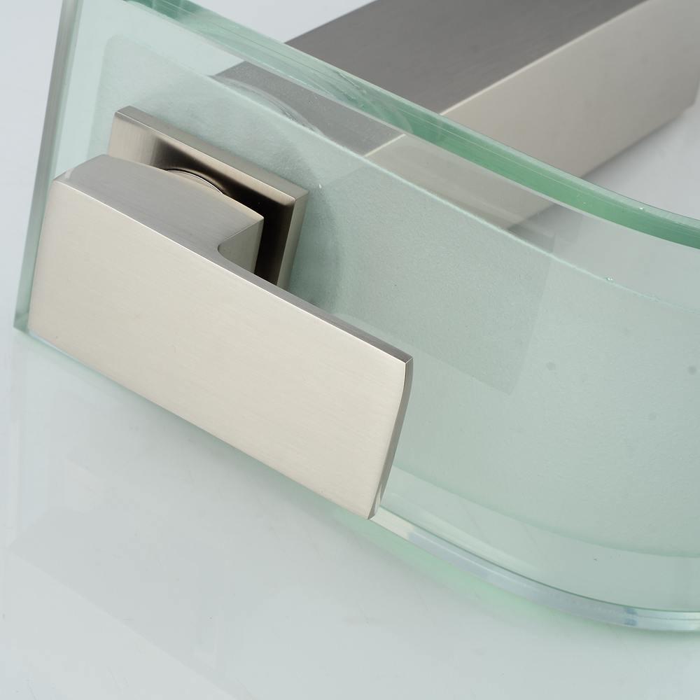 Vidric robinet haut brosse Nickel bassin salle de bain cascade LED robinets verre cascade laiton salle de bain mitigeur pont monté ELS40 - 3