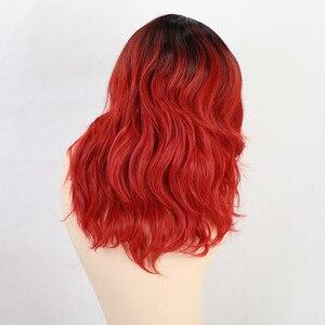 Image 4 - EASIHAIR синтетические парики с черными и красными волнами омбре с челкой для женщин, парики для волос средней длины, термостойкие парики для косплея