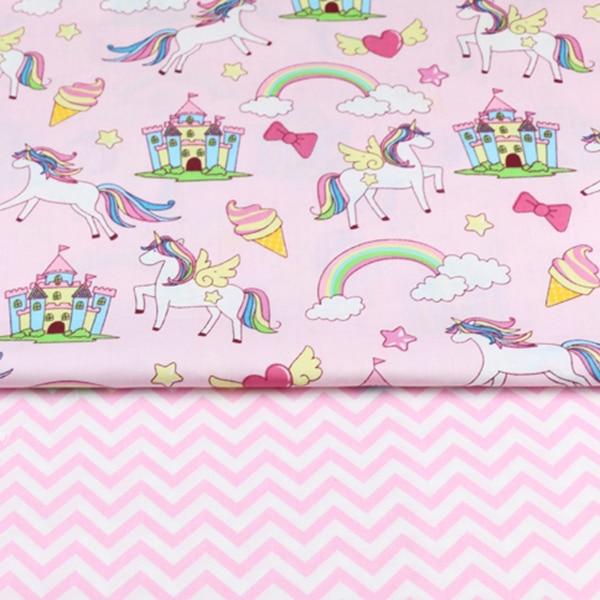 2 sztuk jednorożec, kwiatowy 100% bawełna tkaniny do produkcji ubrania do szycia prześcieradło obrus patchworkowy tkaniny do diy dla dziecka dziecko