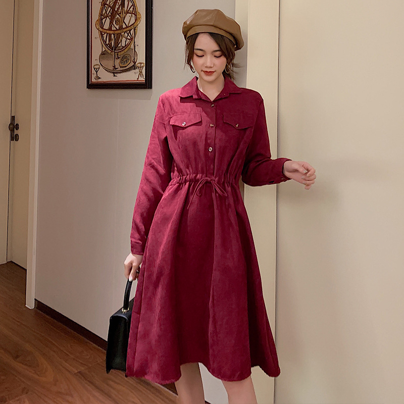 Photo Shoot South Korea Autumn And Winter Base Skirt Loose Waist Slimming Four Colors Hot Selling Dress ~ Currently Available