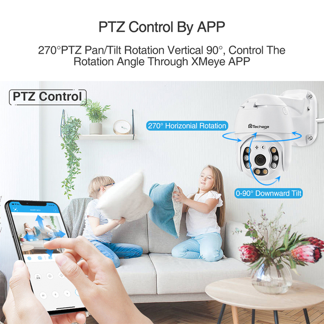 Techage 2MP Security POE IP Camera 1080P PTZ Dome AI Video Camera Two Way Audio Human Detect Surveillance TF Card for NVR System 5