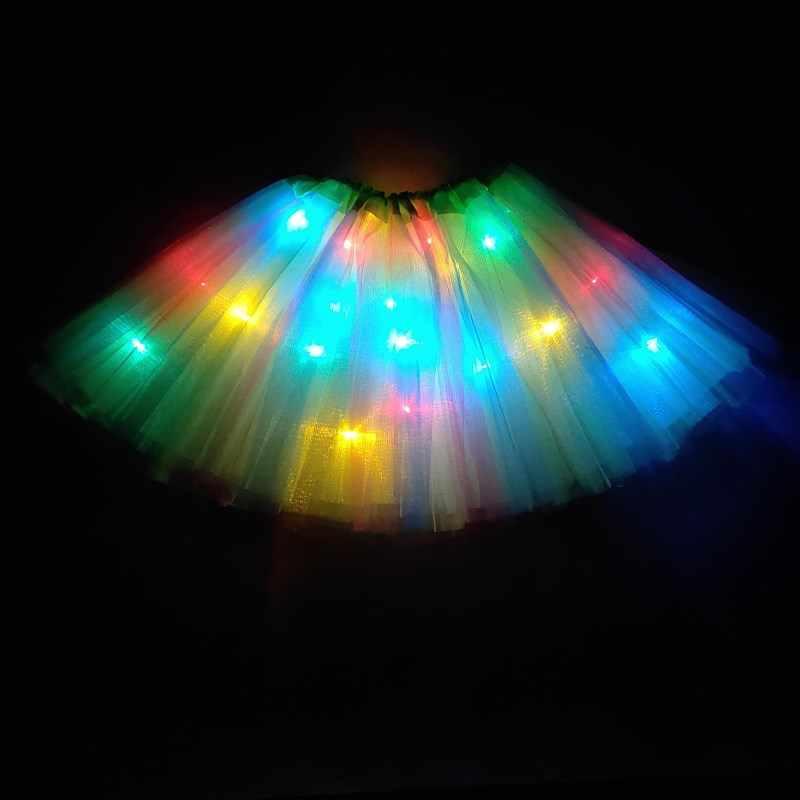 Işık LED kız çocuk giysileri yıldız Tutu etek prenses parti tutuş tül Pettiskirt çocuk bale dans cadılar bayramı noel navidad