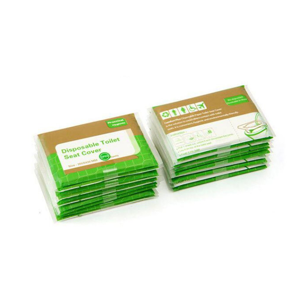Original Wooden Paddle Disposable Toilet Cushion Paper 5 Packs 50 Pieces Green