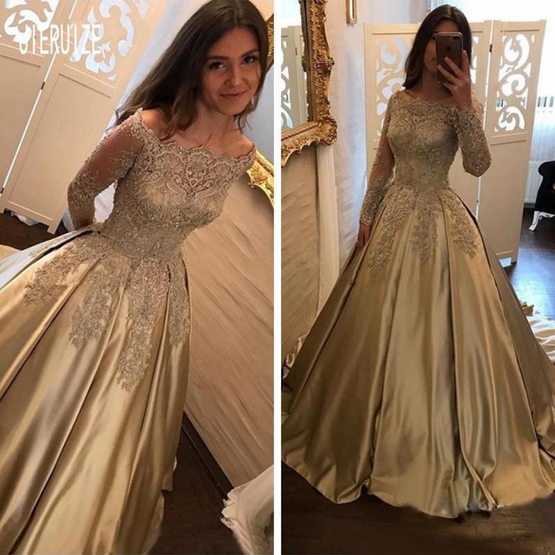 JIERUIZE Luxury Gold Wedding Dresses Off Shoulder Long Sleeves Lace Appliques Beaded Wedding Bridal Gowns Robe De Mariee