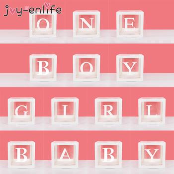DIY przezroczyste pudełko z imieniem dziewczyna chłopiec dekoracje na Baby Shower Baby 1st One dekoracje na przyjęcie urodzinowe Baby Girl dekoracje urodzinowe tanie i dobre opinie joy-enlife CN (pochodzenie) List Jednolity kolor Tektura Ślub i Zaręczyny Eid al-fitr Chrzest chrzciny St Świętego patryka