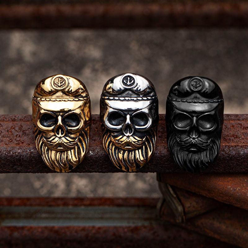 Valily Punk Beard Skull Rings Stainless Steel Men Ring Vintage Skeleton Navy Hat Ring Male Jewelry Gold Color Biker Jewelry