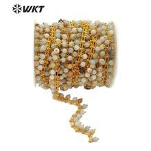 WT RBC105 WKT מרובה צבעים אמזונייט זהב חוט עטוף מחרוזת שרשרת 5 מטר לנשים אופנתי תכשיטי ביצוע