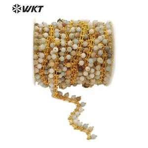 Image 1 - WT RBC105 WKT متعددة الألوان امازونيتي الذهب سلك ملفوفة الوردية سلسلة 5 متر للنساء صنع مجوهرات أنيقة