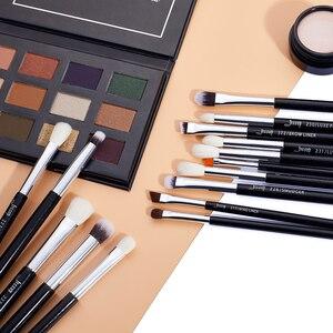 Image 5 - Jessup pincéis de maquiagem 15 pçs preto/prata maquiar profissional completa eyeliner shader definer lápis corretivo sobrancelha t177