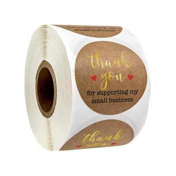 Round Natural Kraft Paper Thank You for Supporting My Small Business Stickers Seal Label with Gold Foil Word