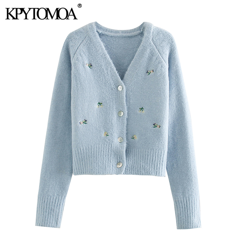 KPYTOMOA Women 2020 Fashion Floral Embroidered Knitted Cardigan Sweater Vintage V Neck Long Sleeve Female Outerwear Chic Tops