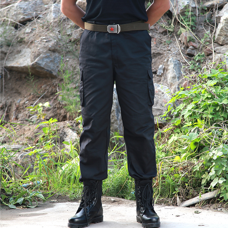 Black Cargo Pant Men Military Style Tactical Pants Casual Pantalones Thin Working Pants Army Police Security Trouser Overalls