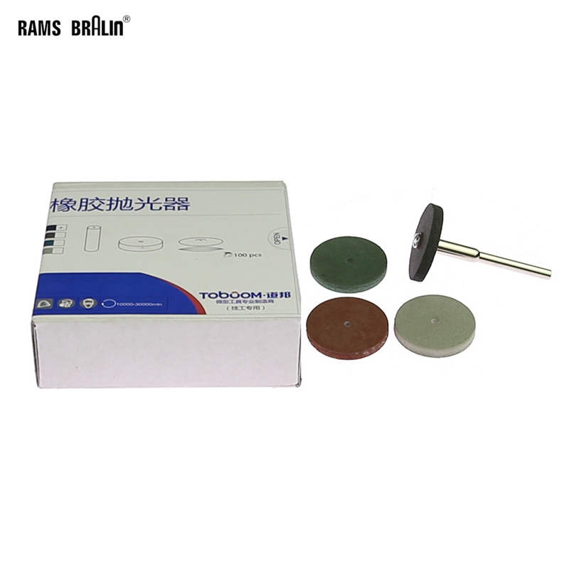 100 Pieces Assorted Silicon Rubber Polishing Wheel Dental Lab Material Metal Alloy Grinding 2 Pieces 3mm Mandrel Sent