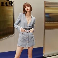 [EAM] Women Button Plaid Pocket Split Temperament Dress New V Neck Long Sleeve Loose Fit Fashion Tide Spring Autumn 2020 1H823