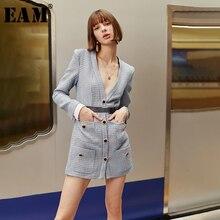 [Eam] 女性ボタンチェック柄ポケット気質ドレス新vネック長袖ルーズフィットファッションタイド春秋2020 1H823