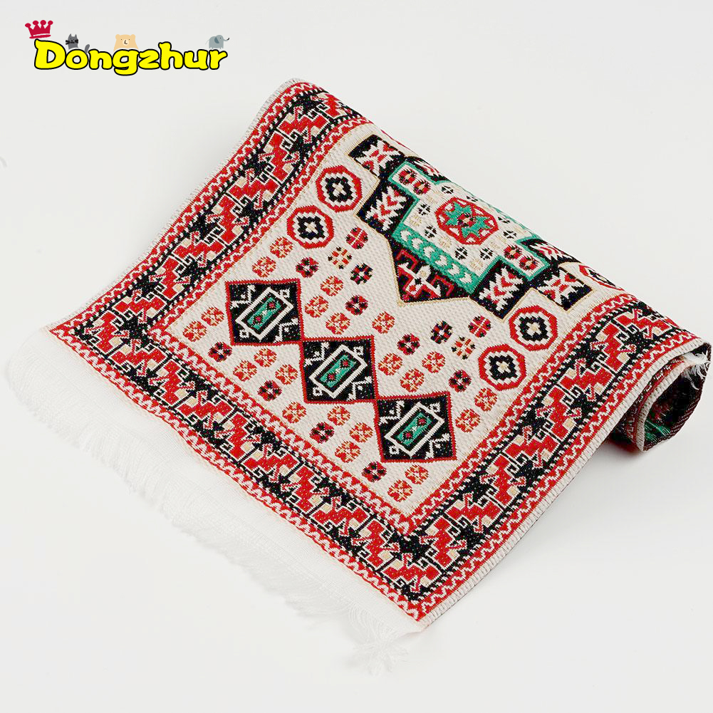 <font><b>1:12</b></font> DIY <font><b>Dollhouse</b></font> <font><b>Miniature</b></font> Carpet Mat Hand Woven Trukish Rugs Embroidered Handmade Mini Blanket Toy for 1/12 Doll House image
