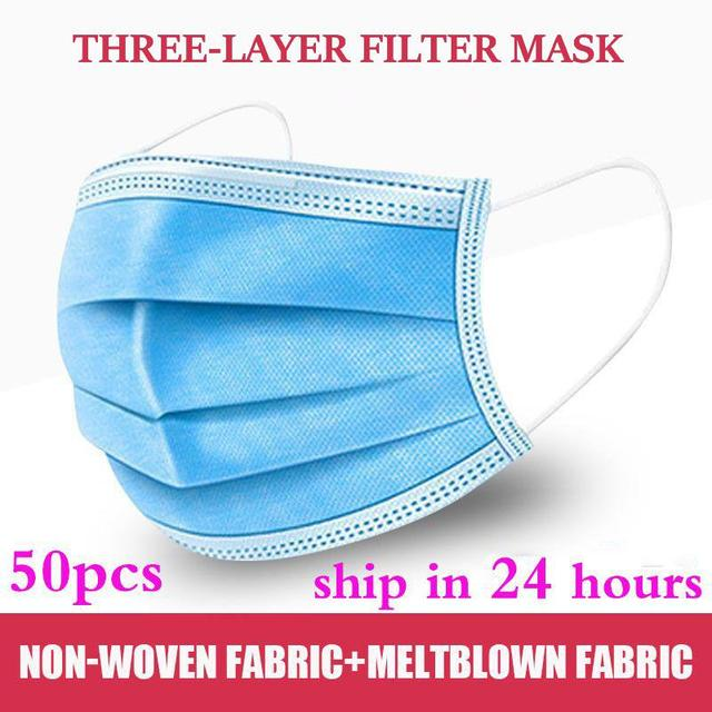 10pcs/50pcs/100pcs/200pcs mask disposable 3 Layer Nonwove Ply Filter Melt blown cloth Mouth Face Mask mouth mask